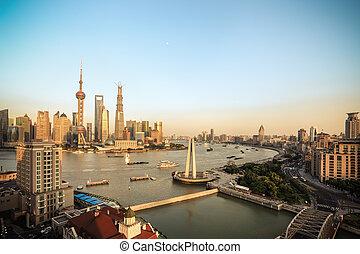 hermoso, shanghai, anochecer