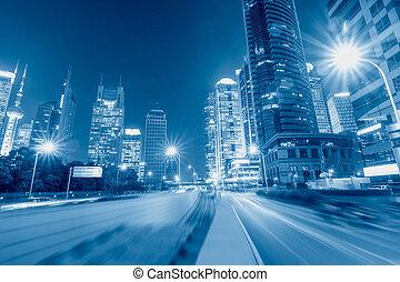 hermoso, shanghai, escena, noche