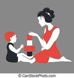 hermoso, silueta, de, madre y bebé, juego, con, toys., día...
