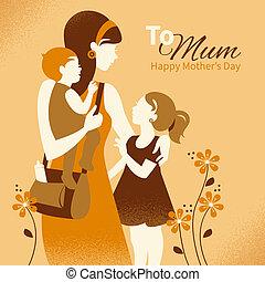 hermoso, silueta, ella, madre, children., madre, tarjetas,...
