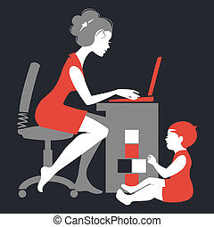 hermoso, silueta, freelancer, –, cuaderno, madre