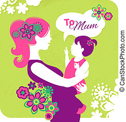 hermoso, silueta, madre, day., madre, bebé, tarjeta, feliz