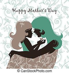 hermoso, silueta, mother's, h, day., madre, tarjeta, feliz