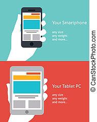 hermoso, smartphone, y, tableta, plano, icono, diseño