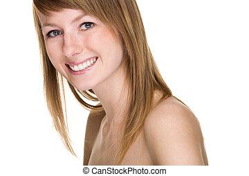 hermoso, smile., mujeres jóvenes