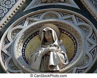 hermoso, sobre, del, -, composición, virgen, portal, santa,...