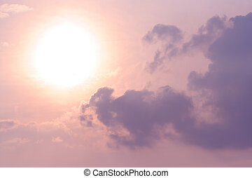 hermoso, sol, nubes, cielo
