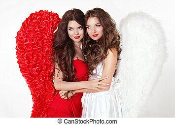 hermoso, sonriente, ángel, niñas, con, ángel, wings., moda, mujeres