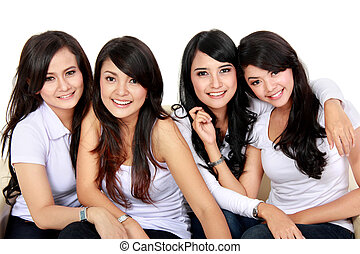 hermoso, sonriente, grupo, mujeres