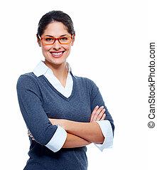 hermoso, sonriente, woman., empresa / negocio