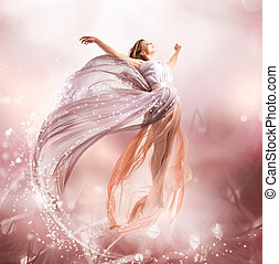 hermoso, soplar, magia, flying., fairy., niña, vestido