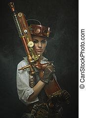 hermoso, steampunk, niña, arms.