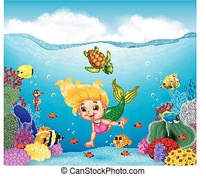 hermoso, submarino, caricatura, sirena, mundo