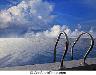 hermoso, swiming, cielo, oscuro, tiempo, piscina
