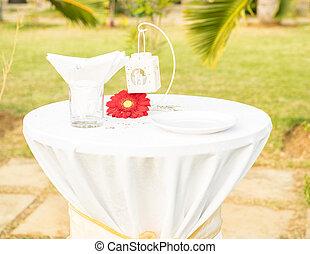 hermoso, tabla, conjunto, fot, boda