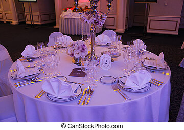 hermoso, tabla, conjunto, para, boda
