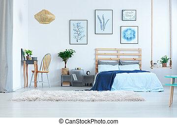 hermoso, tabla, dormitorio, aliño