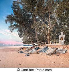 hermoso, Tailandia, playa, cielo, colorido