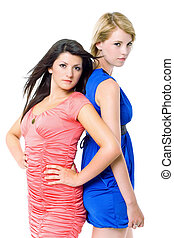 hermoso, tarde, dresses., joven, dos mujeres