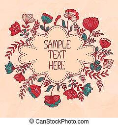 hermoso, tarjeta de felicitación, con, flor