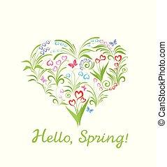 hermoso, tarjeta de felicitación, con, forma corazón, y, flores del resorte
