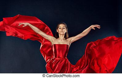 hermoso, teatral, baile de mujer, vuelo, inspirador, seda, vestido, rojo
