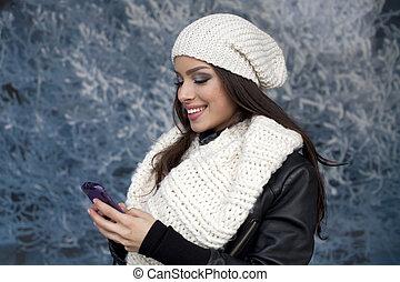 hermoso, teléfono, elegante, hembra, Utilizar