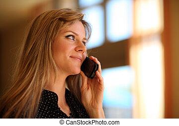hermoso, teléfono, niña, célula, hablar