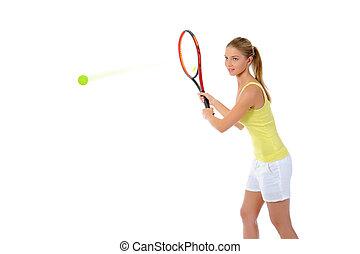 hermoso, tenis, racquet., mujer
