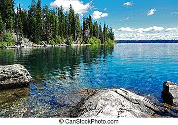 hermoso, teton, paisaje, lago, gran