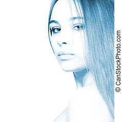 hermoso, toned, aislado, (high-key, retrato, niña, blue),...