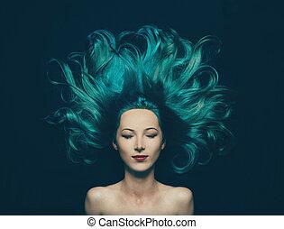 hermoso, turquesa, color, pelo largo, niña