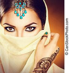 hermoso, turquesa, mujer, ella, joyas, cara, tradicional,...