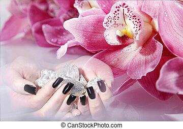 hermoso, uñas, en, balneario