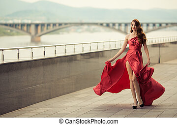 hermoso, urbano, mujer, fondo., dress., ondear, rojo