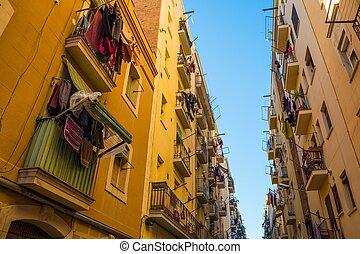 hermoso, vecindario, calles, barceloneta, barcelona