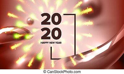 hermoso, vector, 2020, año, nuevo, bandera, navidad, feliz