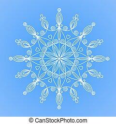 hermoso, vector, copo de nieve