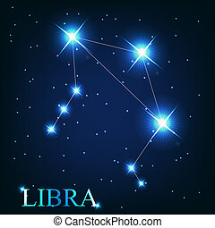 hermoso, vector, estrellas, cielo, cósmico, señal, brillante...