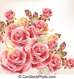 hermoso, vector, plano de fondo, en, vendimia, estilo, con, rosa, flores