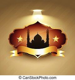 hermoso, vector, ramadan, kareem