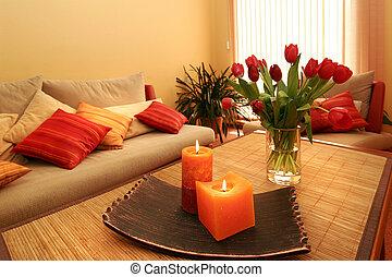 hermoso, velas, flores, interior, habitación
