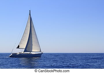hermoso, velero, navegación, velas, azul, mediterráneo