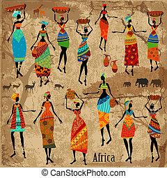 hermoso, vendimia, mujeres, plano de fondo, africano