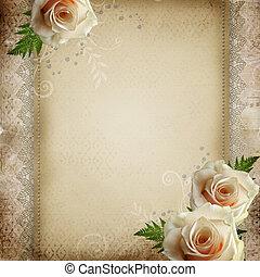 hermoso, vendimia, plano de fondo, boda