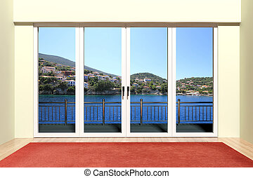 hermoso, ventana, moderno, aluminio, vista