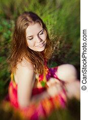 hermoso, verano, concepto, lensbaby, foco, jengibre, una ...