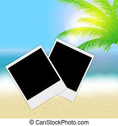 hermoso, verano, instante, playa, sol, árbol, fotos, vector, palma, ilustración, plano de fondo, mar