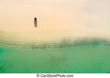 hermoso, verano, mujer, aéreo, sol, colorido, seychelles.,...