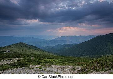 hermoso, verano, paisaje, en, el, montañas.